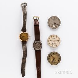 Two American Wristwatches and Three Pocket Watch Movements