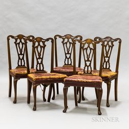Set of Five Chippendale-style Mahogany Dining Chairs