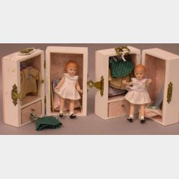 Two Tiny All-Bisque Replica Wee Patsy Dolls in Trunks