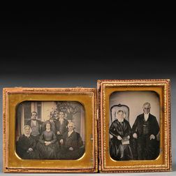 Two Quarter-plate Daguerreotype Portraits of Dorchester, Massachusetts, Pewterer   Roswell Gleason and Members of His Family