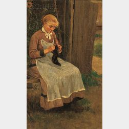 Continental School, 19th Century      Portrait of a Woman Knitting
