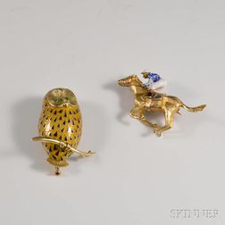 Two Gold and Enamel Brooches