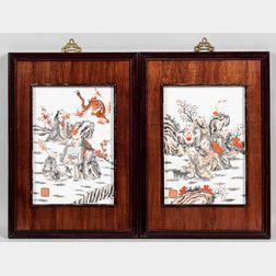 Set of Four Grisaille Enameled Porcelain Plaques