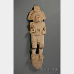 Pre-Columbian Carved Limestone Figure