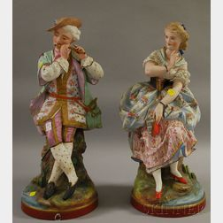Pair of Large European Hand-painted Bisque Figures