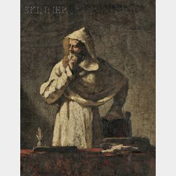 Elihu Vedder  (American, 1836-1923)      Portrait of a Contemplative Monk