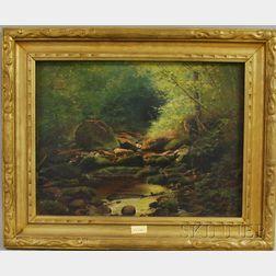 George Albert Frost (American, 1843-1907)      Woodland Stream.
