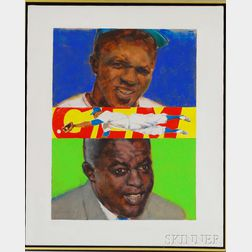 Robert K. Levering (American, 1919-2011)      Three Portraits of Jackie Robinson.