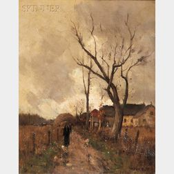 Gustav (Gustave) Wolff (American, 1863-1935)      Autumn Village Scene with Figures on a Path