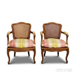 Pair of Louis XV-style Caned Walnut Fauteuils