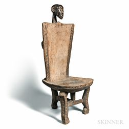 African-style Carved Wood Figural Chair