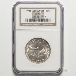 1936 Wisconsin Commemorative Half Dollar, NGC MS67.     Estimate $200-400