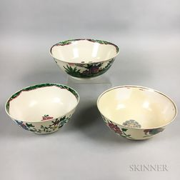 Three Staffordshire Polychrome Enameled Salt-glazed Stoneware Bowls