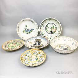 Six Polychrome Delft and Faience Pottery Items