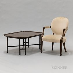 French Provincial Walnut Fauteuil and a Tray-form Coffee Table.     Estimate $100-150