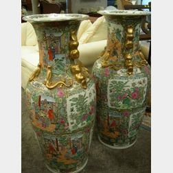 Large Pair of Chinese Export Style Ceramic Rose Medallion Floor Vases.