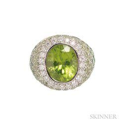18kt White Gold, Peridot, and Diamond Ring