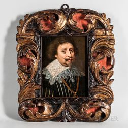 Dutch School, 17th Century Style      Head of a Man in a Flat Lace Collar and Gold Chain with Medallion