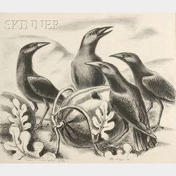 Otis Dozier (American, 1904-1987)      Crows in Melon Patch
