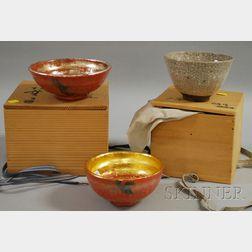 Three Japanese Glazed Ceramic Tea Ceremony Bowls