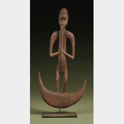 New Guinea Carved Wood Figurative Hook