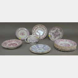 Sixteen Pieces of English Magenta Transfer-decorated Staffordshire Tableware