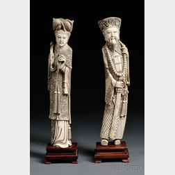 Pair of Ivory Carvings on Wood Stands