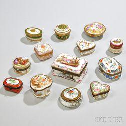 Thirteen Small Porcelain Boxes