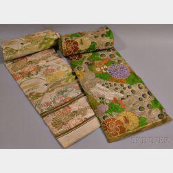 Two Silk Brocade Obi Sashes