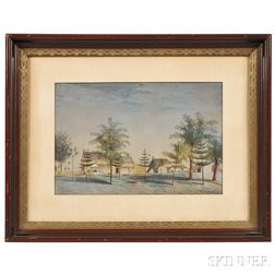 American School, 19th Century    Landscape with Houses and a Figure