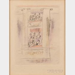 Jules Pascin (French, 1885-1930)      Two Framed Prints: Theater Box