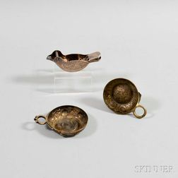 Two Silver-plated Wine Tasters and a Bird-form Lemon Squeezer