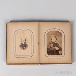 Unbound Photo Album Containing Thirty Identified Albumen Carte-de-Visite Photographs of 19th Century Literary, Stage, Political, and Mi