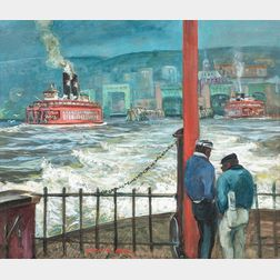 Cecil Crosley Bell (American, 1906-1970)      Red Ferry, Leaving Staten Island #2