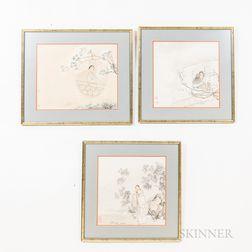 Three Paintings Depicting Garden Scenes