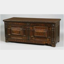 Joined Paneled Inlaid Six-Board Oak and Maple Chest