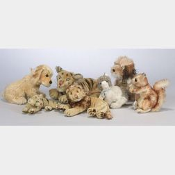 Seven Steiff and Stuffed Mohair Animals
