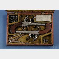 Early Cased Pair of Archer Flintlock Pistols
