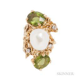 18kt Gold, Baroque Cultured Pearl, and Peridot Ring, Barbara Anton