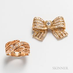18kt Gold and Diamond Bow Brooch and a 14kt Gold and Diamond Ring