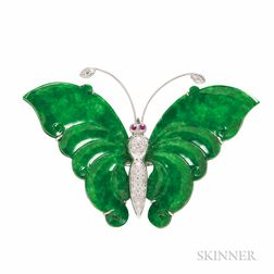 18kt White Gold and Jadeite Jade Butterfly Pendant/Brooch