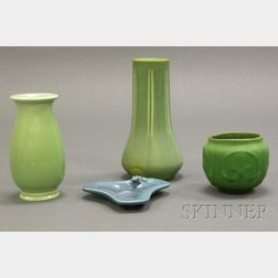 Three Arts & Crafts Pottery Vases and a Tray