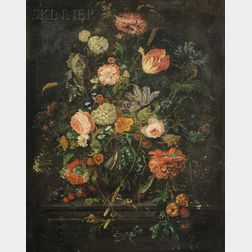 Dutch/Flemish School, 17th Century Style      Still Life with Flowers, Fruit, Insects, and Acorns