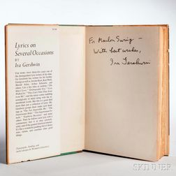 Gershwin, Ira (1896-1983) Lyrics on Several Occasions  , Signed and Inscribed Copy.