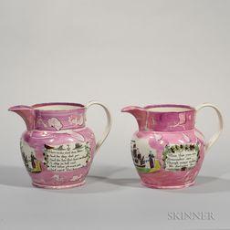 Two Sunderland Pink Lustre Mirror Image Jugs