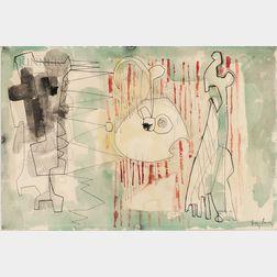 William Baziotes (American, 1912-1963)      Figures at Curtain