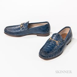 Pair of Gucci Blue Alligator Skin Loafers