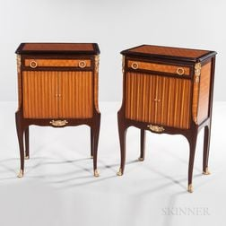 Pair of Louis XV-style Satinwood and Kingwood Parquetry Nightstands