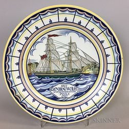 Poole Pottery Polychrome Charger Depicting the Brig General Wolfe
