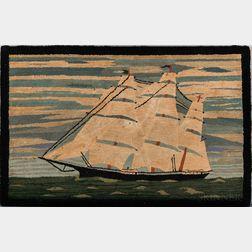 Hooked Rug of a Sailing Ship